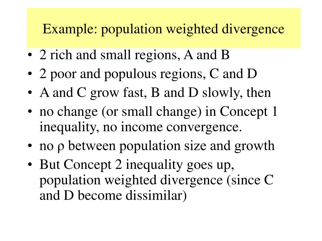 Example: population weighted divergence