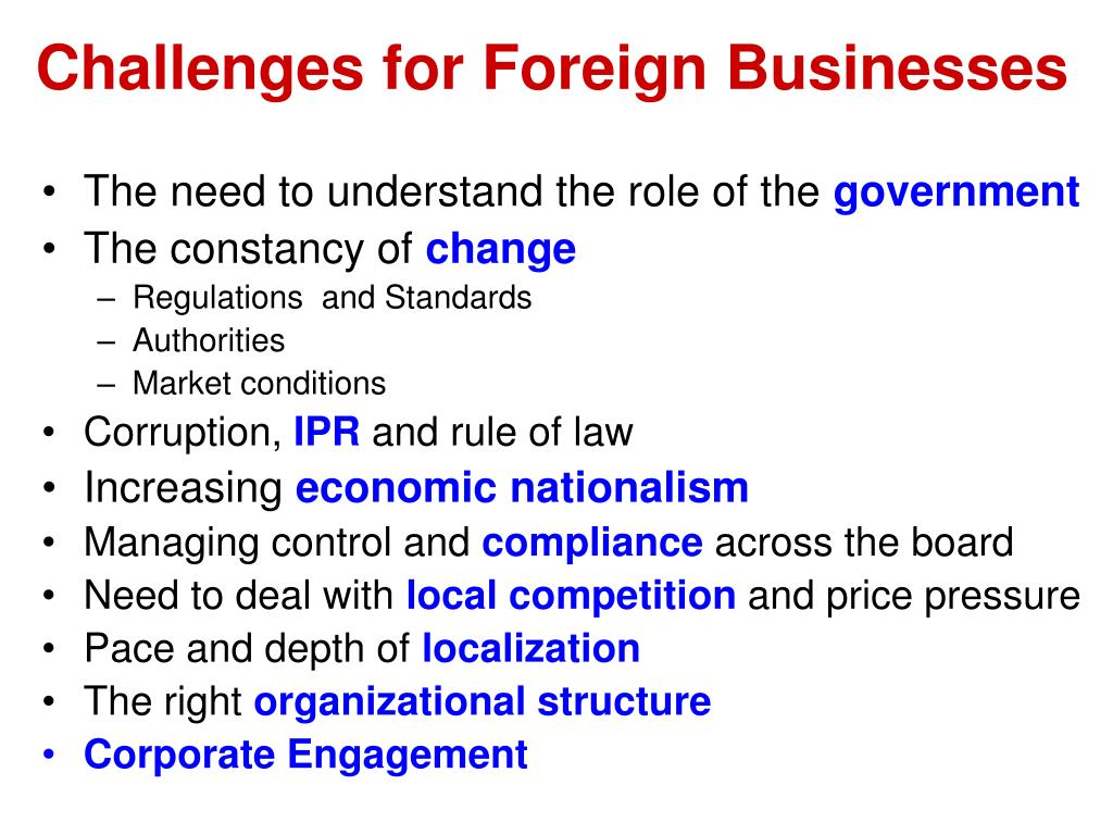 Challenges for Foreign Businesses