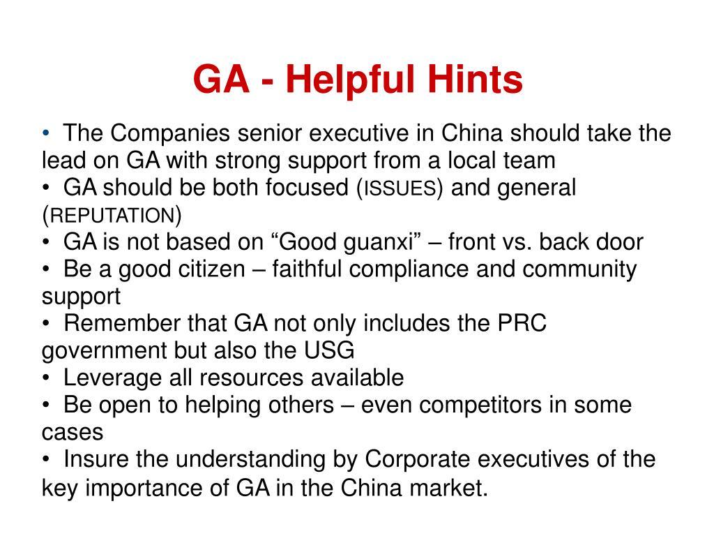 GA - Helpful Hints