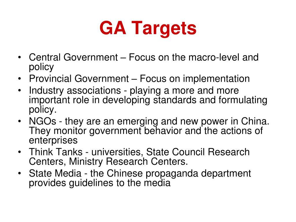 GA Targets