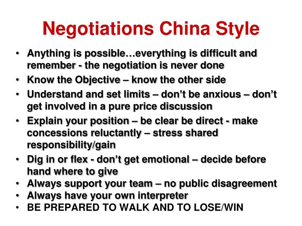 Negotiations China Style