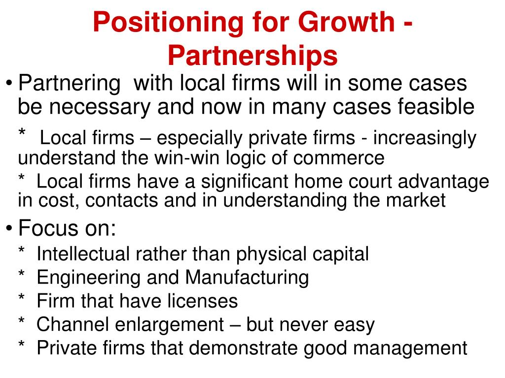 Positioning for Growth - Partnerships