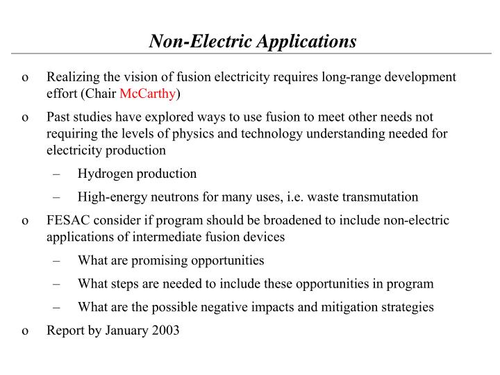 Non-Electric Applications