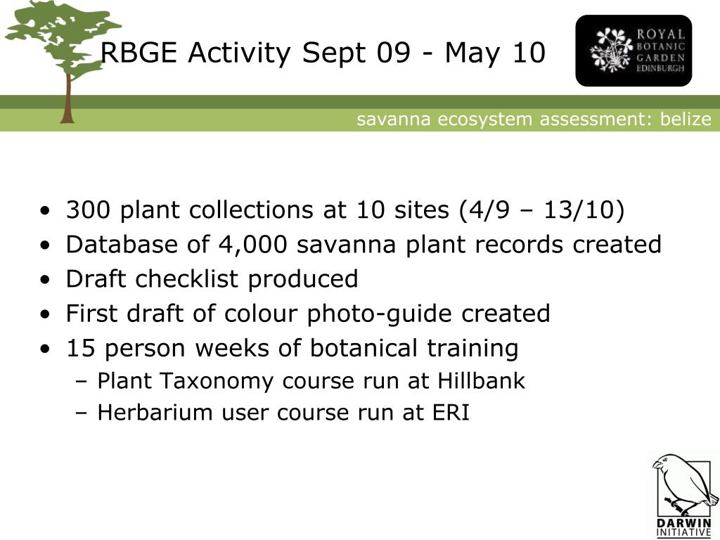 RBGE Activity Sept 09 - May 10