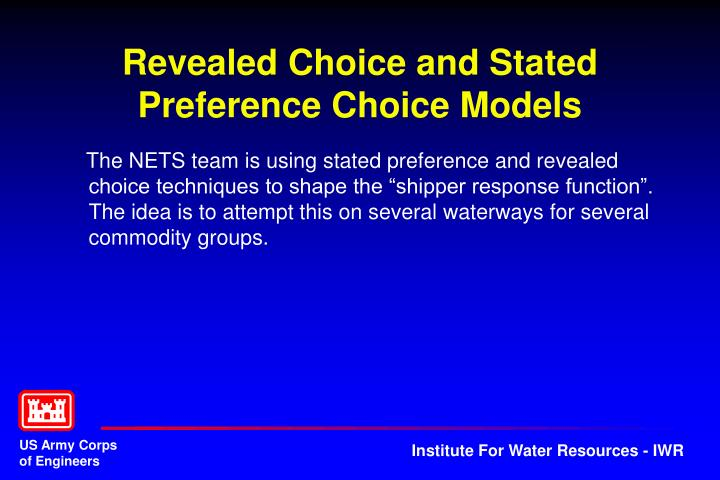 Revealed Choice and Stated Preference Choice Models