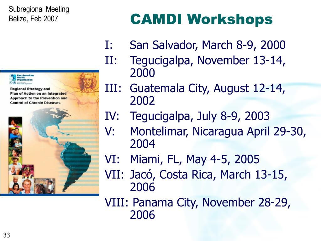 CAMDI Workshops