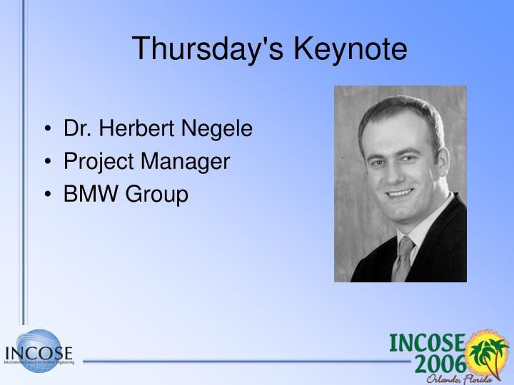 Thursday s keynote