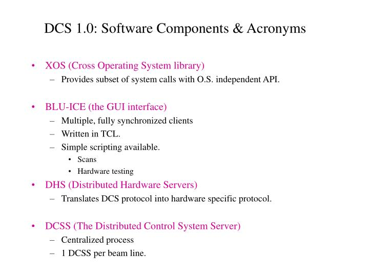 DCS 1.0: Software Components & Acronyms