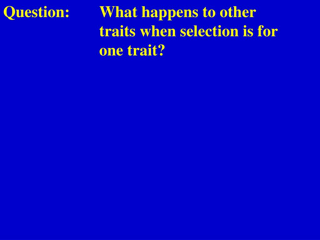 Question:	What happens to other 				traits when selection is for 				one trait?