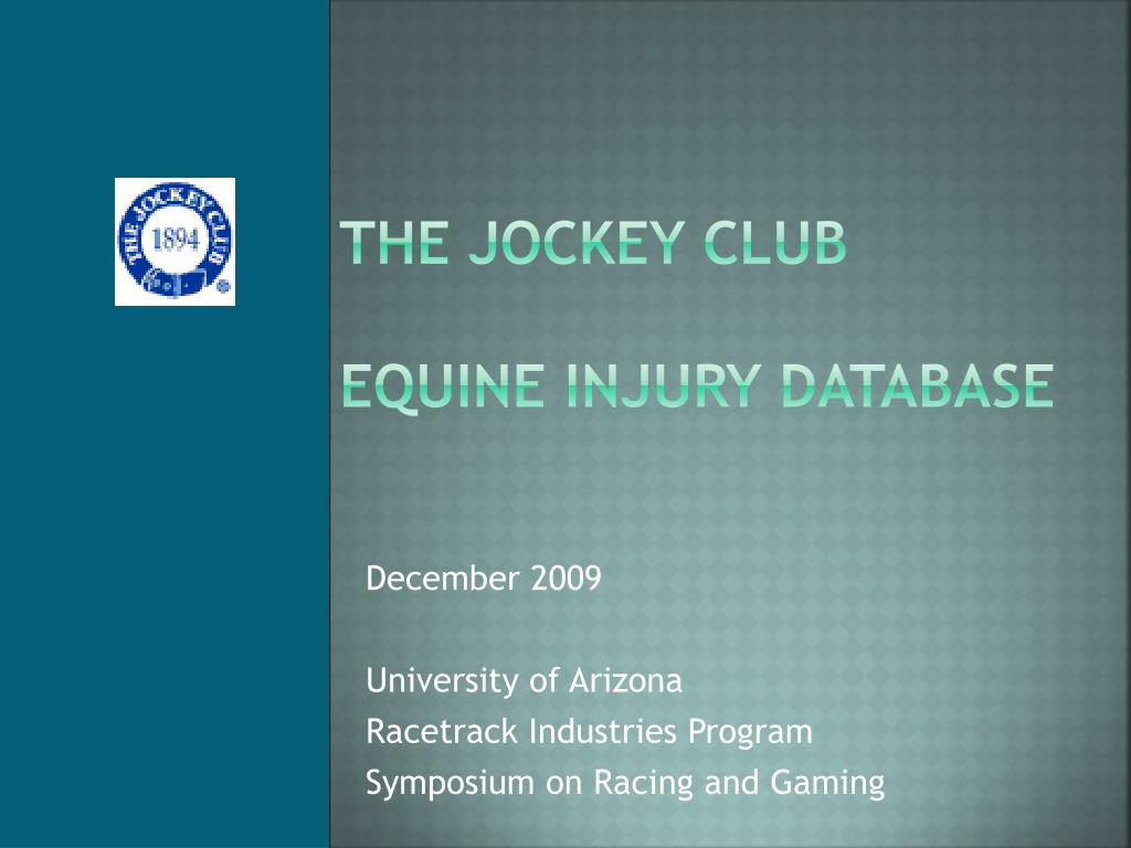 the jockey club equine injury database l.