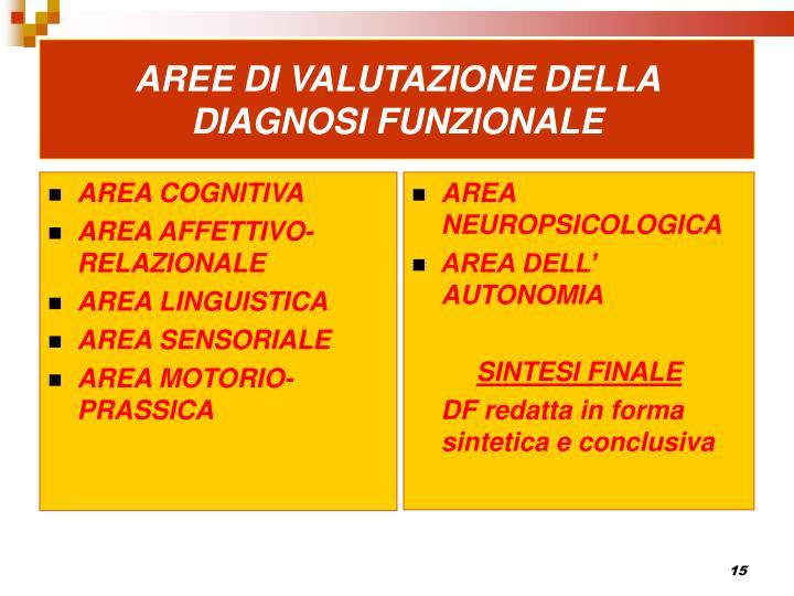 AREE DI VALUTAZIONE DELLA DIAGNOSI FUNZIONALE