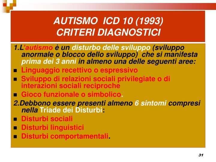 AUTISMO  ICD 10 (1993)