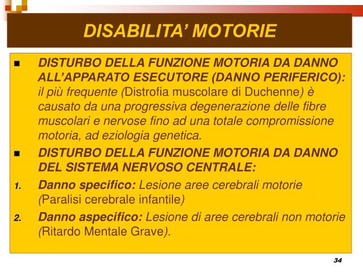 DISABILITA' MOTORIE