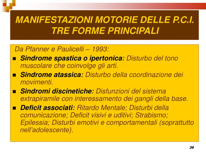 MANIFESTAZIONI MOTORIE DELLE P.C.I.
