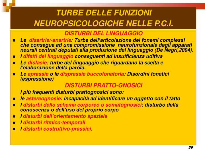 TURBE DELLE FUNZIONI NEUROPSICOLOGICHE NELLE P.C.I