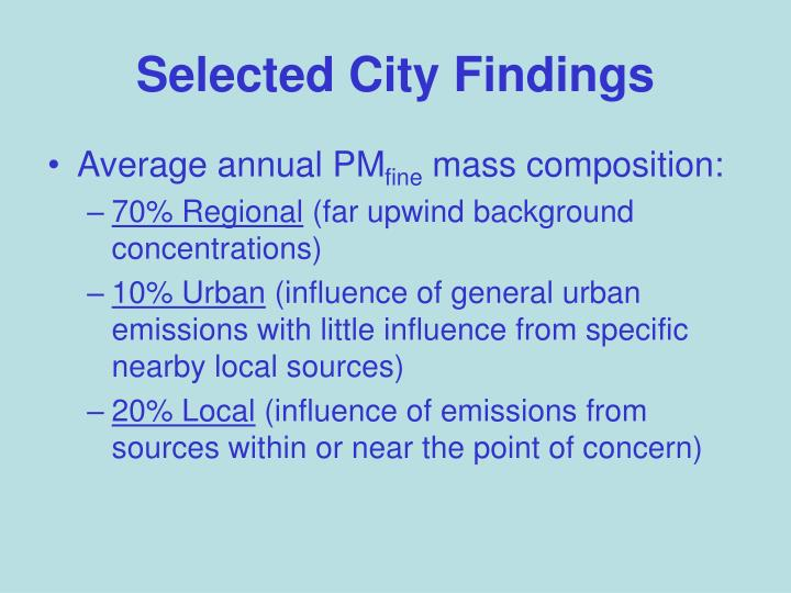 Selected City Findings