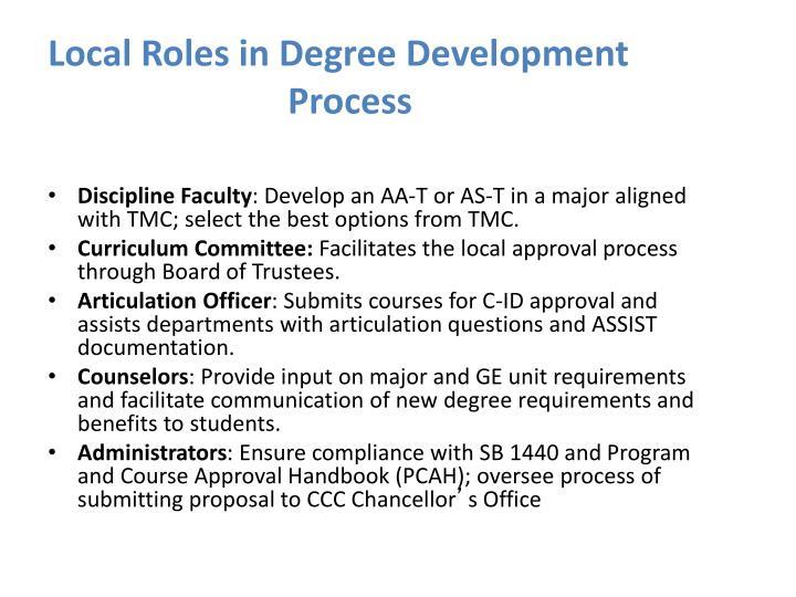 Local Roles in Degree Development