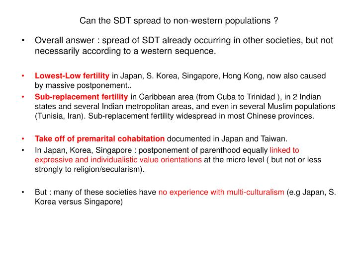 Can the SDT spread to non-western populations ?