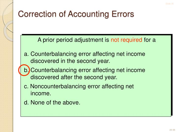 Correction of Accounting Errors