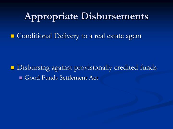 Appropriate Disbursements