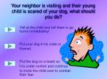 your neighbor is visiting and their young child is scared of your dog what should you do
