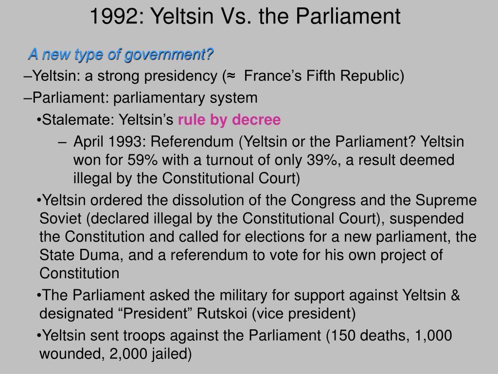 1992: Yeltsin Vs. the Parliament