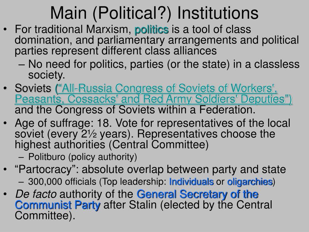 Main (Political?) Institutions