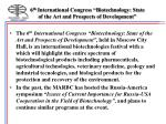 6 th international congress biotechnology state of the art and prospects of development