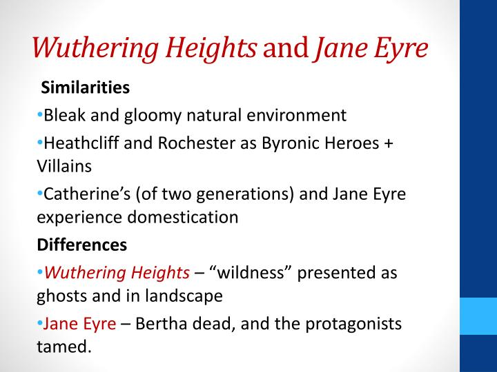 "wuthering heights and jane eyre essay This paper looks at the many similarities in emily bronte's wuthering heights, and charlotte bronte's novel, ""jane eyre"" the author discusses the gothic elements present in both books: the dark, the hidden, the secrets, and the brooding characters like heathcliff and mr rochester."