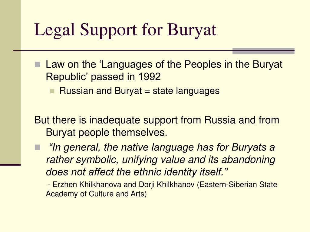 Legal Support for Buryat