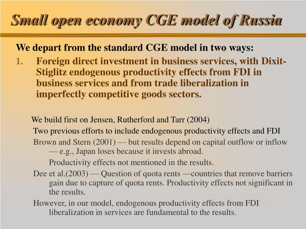 Small open economy CGE model of Russia