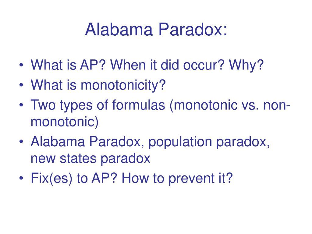 Alabama Paradox: