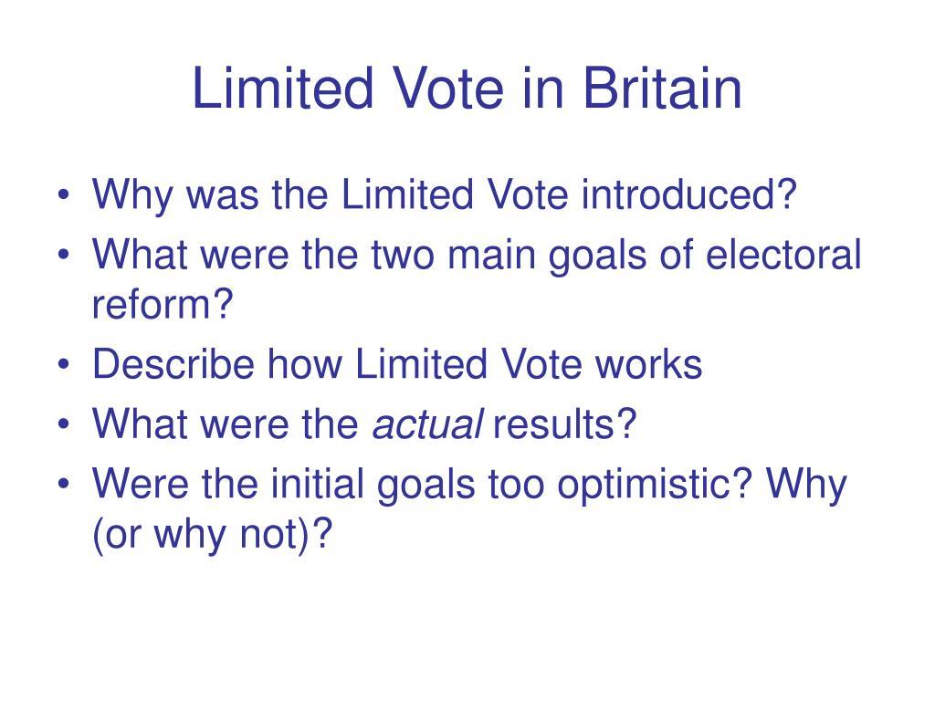 Limited Vote in Britain