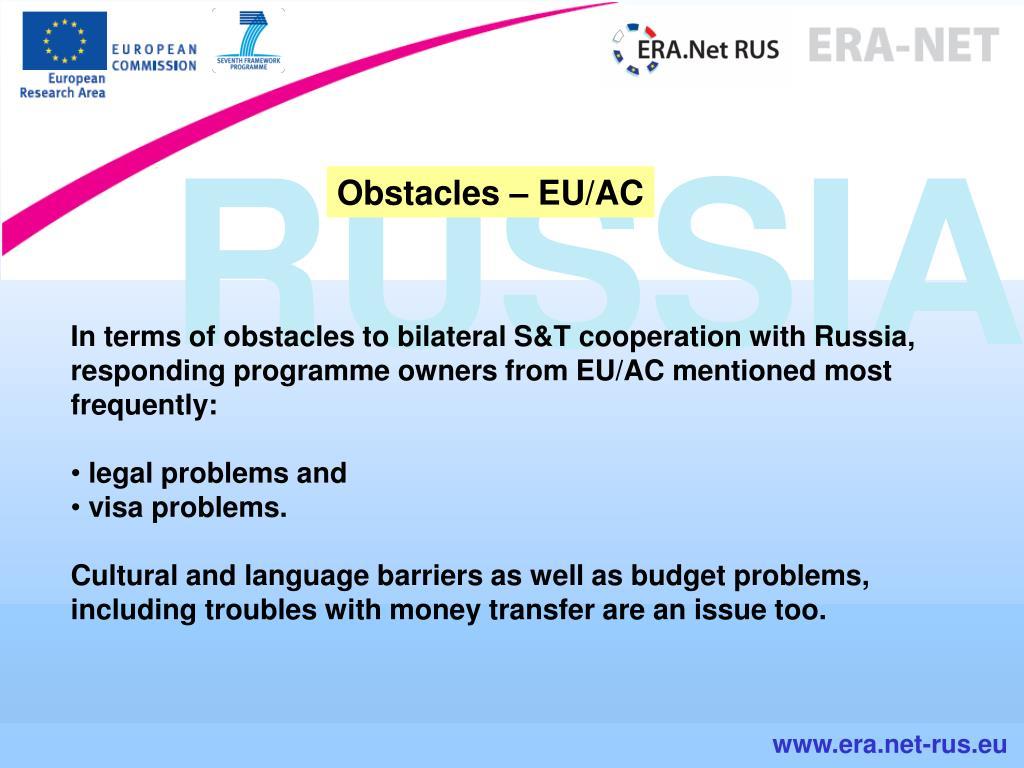 Obstacles – EU/AC