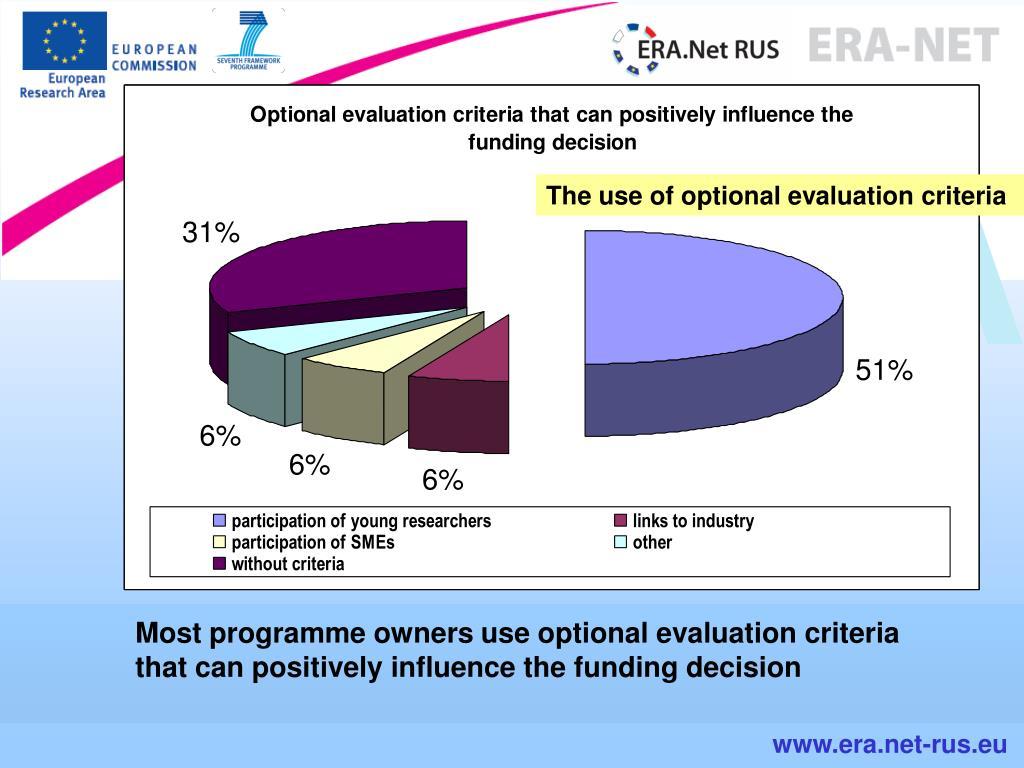 The use of optional evaluation criteria