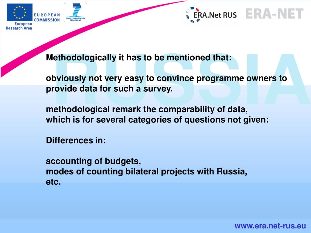 Methodologically it has to be mentioned that: