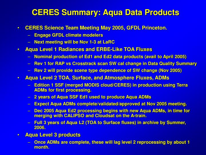 CERES Summary: Aqua Data Products