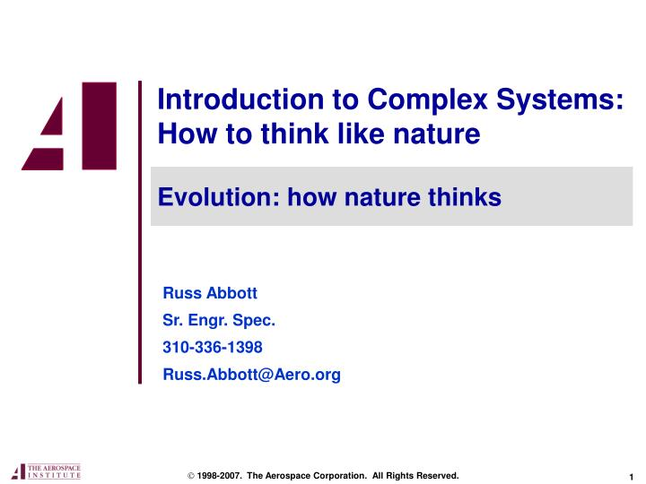 introduction to complex systems how to think like nature n.