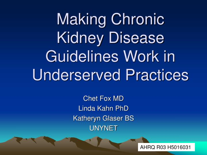 Making Chronic Kidney Disease Guidelines Work in Underserved Practices