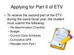 applying for part ii of etv