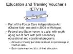 education and training voucher s etv s