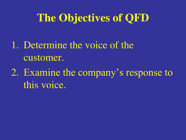 The Objectives of QFD