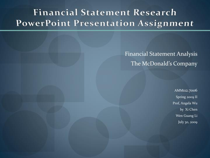 financial statement research powerpoint presentation assignment n.