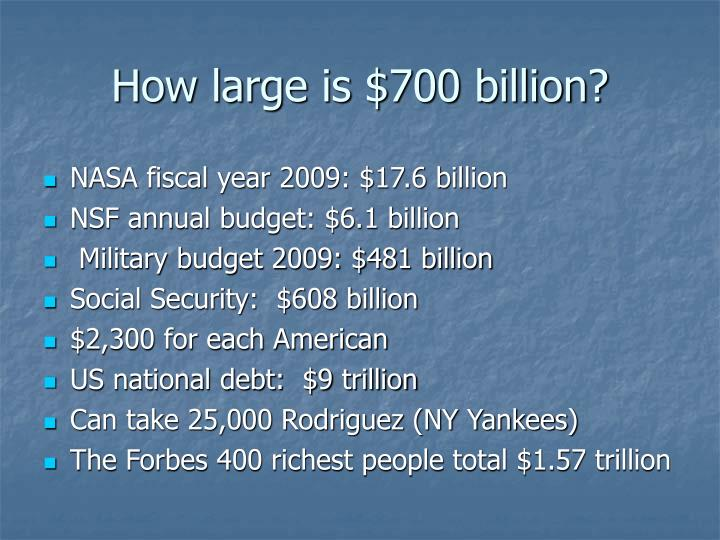 How large is $700 billion?