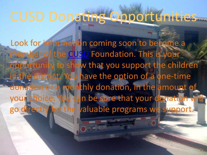 Cusd donating opportunities