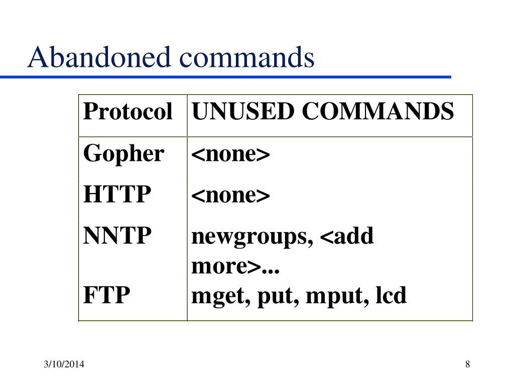 Abandoned commands