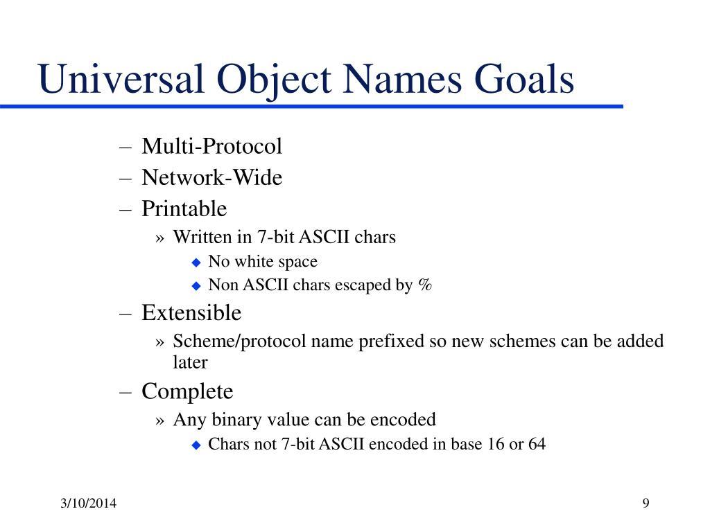 Universal Object Names Goals