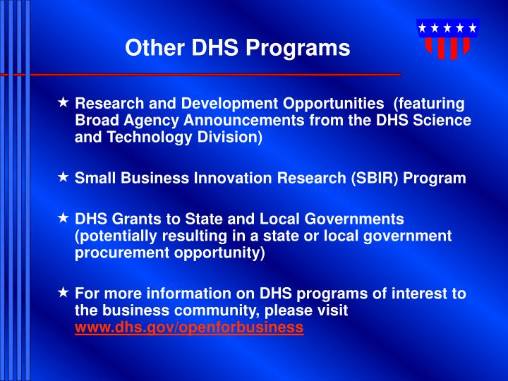 Other DHS Programs