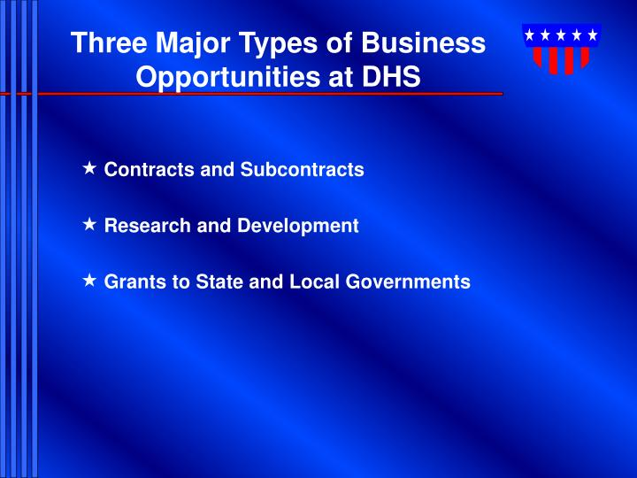 Three Major Types of Business Opportunities at DHS