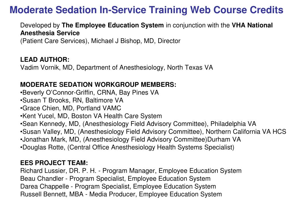 Ppt Moderate Sedation In Service Training Web Course Credits